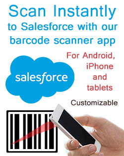 Scan a bar code and immediately update a Salesforce record from any Android or iOS mobile device.