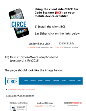 CIRCE Client Side Bar Code Scanner Instructions.
